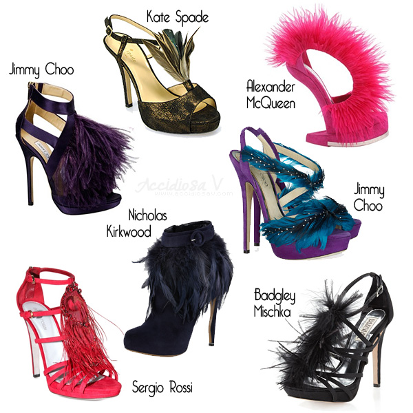 Fall 2012 Shoe Trend: feathered and fluffy pumps and ankle boots - Collage © www.accidiosav.com