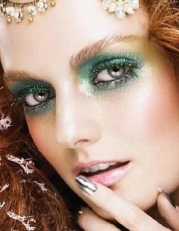 Makeup per capodanno verde oro e glitter