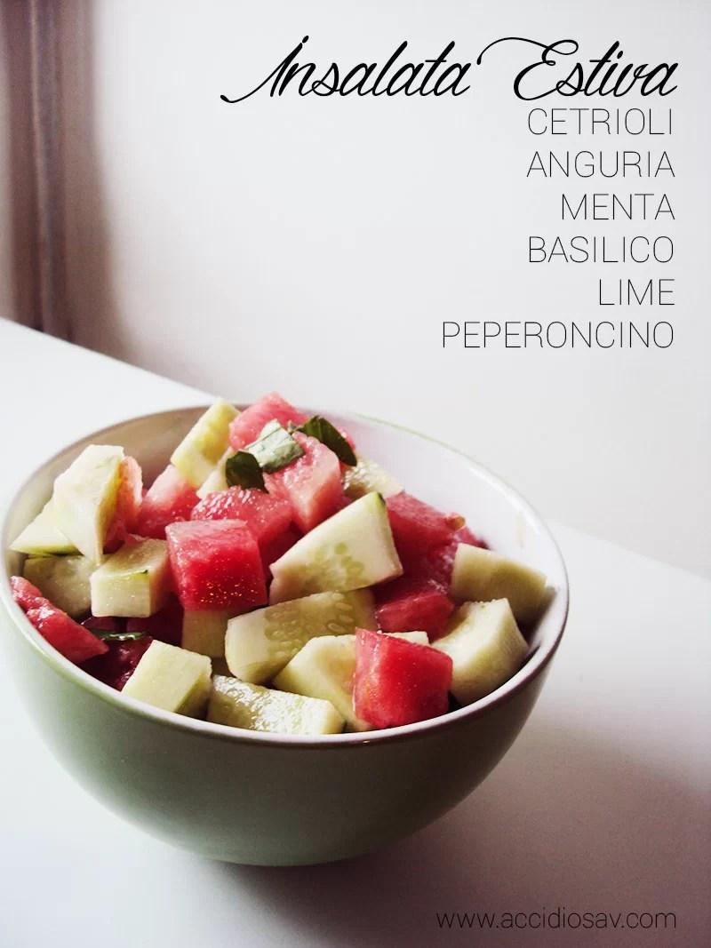 Insalata Estiva di Cetrioli e Anguria- Summer Spicy Salad with Cucumber and Watermelon | AccidiosaV