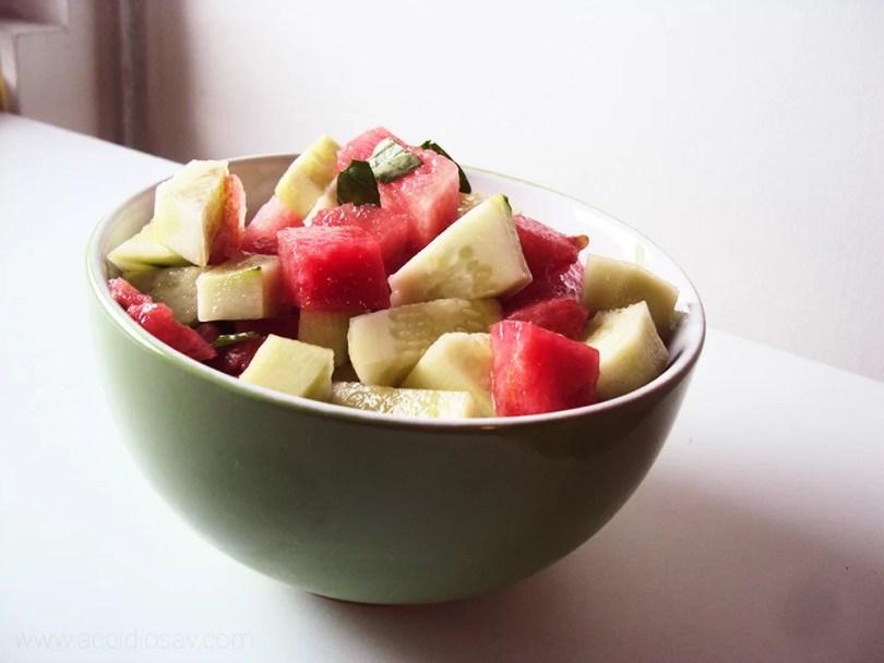 Insalata Estiva di Cetrioli e Anguria- Summer Spicy Salad with Cucumber and Watermelon   AccidiosaV