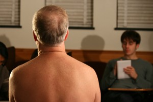 You should always keep your clothes on when conducting a job interview