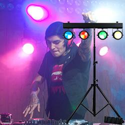 american dj dotz tpar sys lighting package including light stand 4 cob led par etc