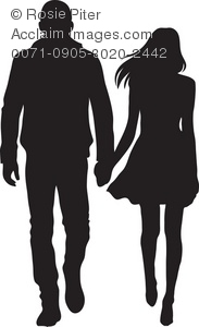 Clipart Illustration of a Man and a Woman Holding Hands