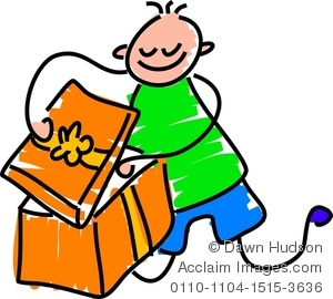 Clip Art Picture of a Boy Opening a Birthday Gift