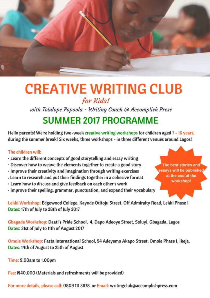 Summer Creative Writing Workshop for Kids and Teenagers in Lagos