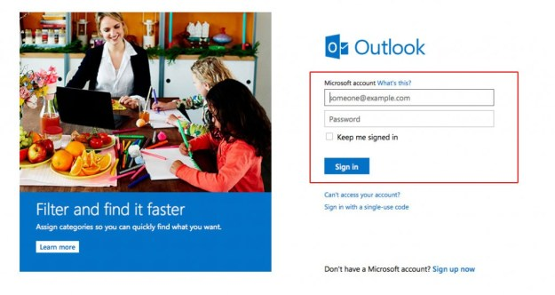 Outlook login help