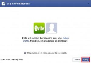 Evite Facebook login