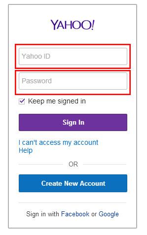 Yahoo log in screen