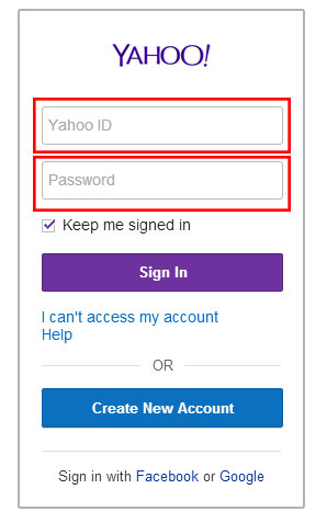 Yahoo log in screen