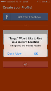 Tango app sign in