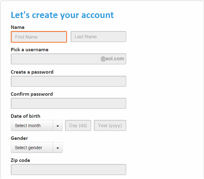 AOL signup form
