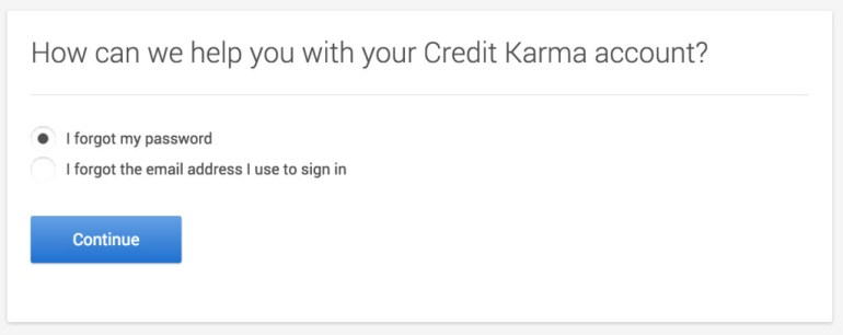 Credit Karma reset password