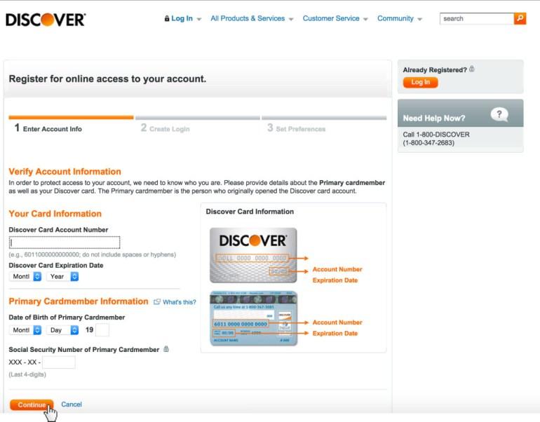 Discover Card Register