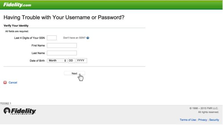 Fidelity reset password
