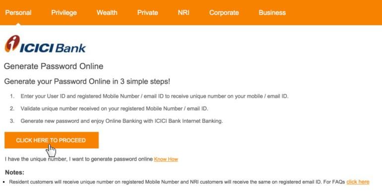 ICICI Bank Password reset