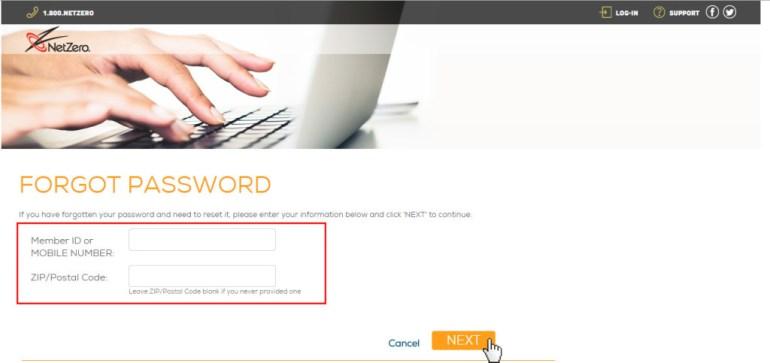 NetZero Password Reset