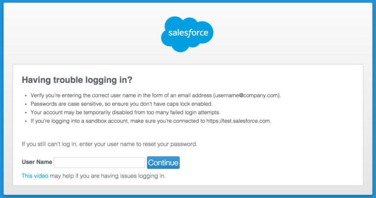 Salesforce reset password