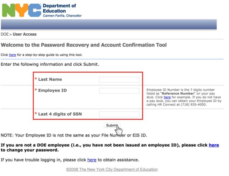 SESIS Password reset