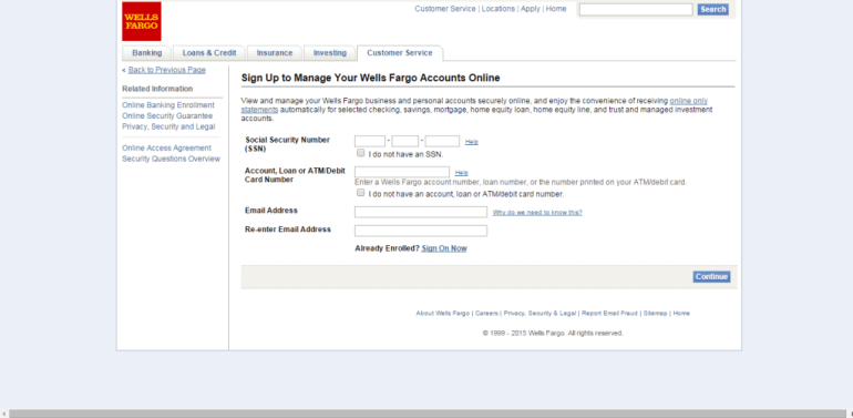 Wells Fargo sign up form