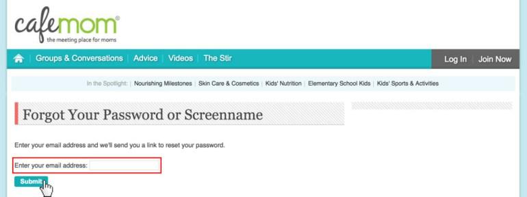 CafeMom password reset