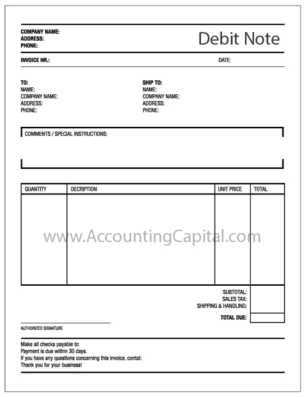Template for Debit Note