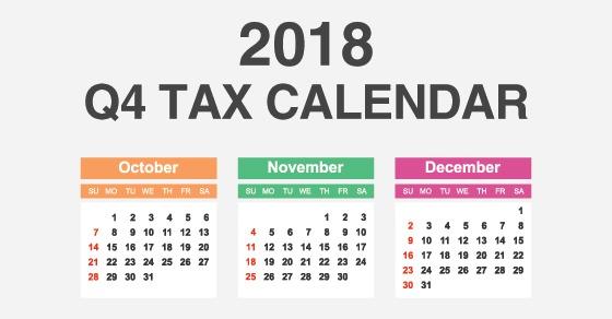 Key Deadlines Q4 2018