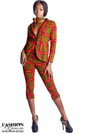 African Print Suit, Two Button Notch Lapel Jacket With Ankle High Trousers
