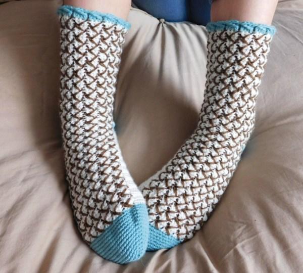 Mint Chocolate Chip Crochet Socks ACCROchet