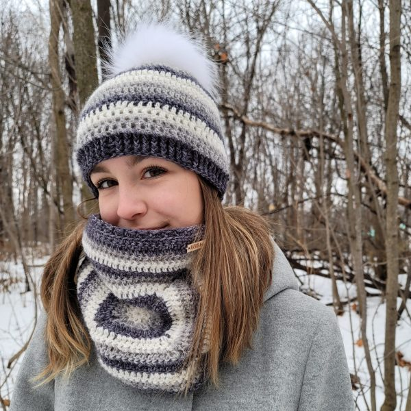 Granny des Bois hat and cowl worn by model