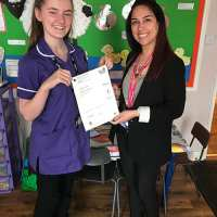 College Student Celebrates Success - Katie Cowgill pictured here with her tutor Ayeh Rakhshani