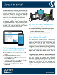 ACC Telecom's quick reference guide for Cloud Phone System features for businesses in Maryland, Washington DC and Virginia.