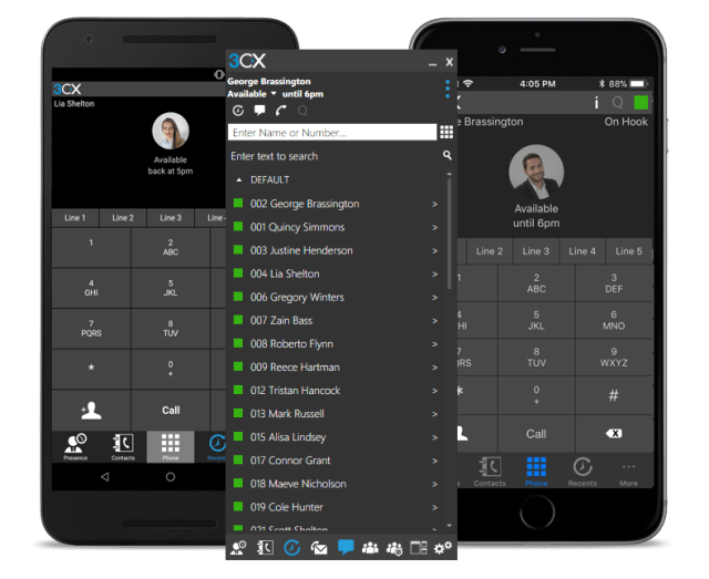 3CX PBX system mobile app clients for iphone and Android