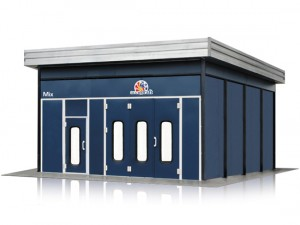 Accudraft-Outdoor-Paint-Booth-with-Side-Enclosure-in-Accudraft-Blue-Color