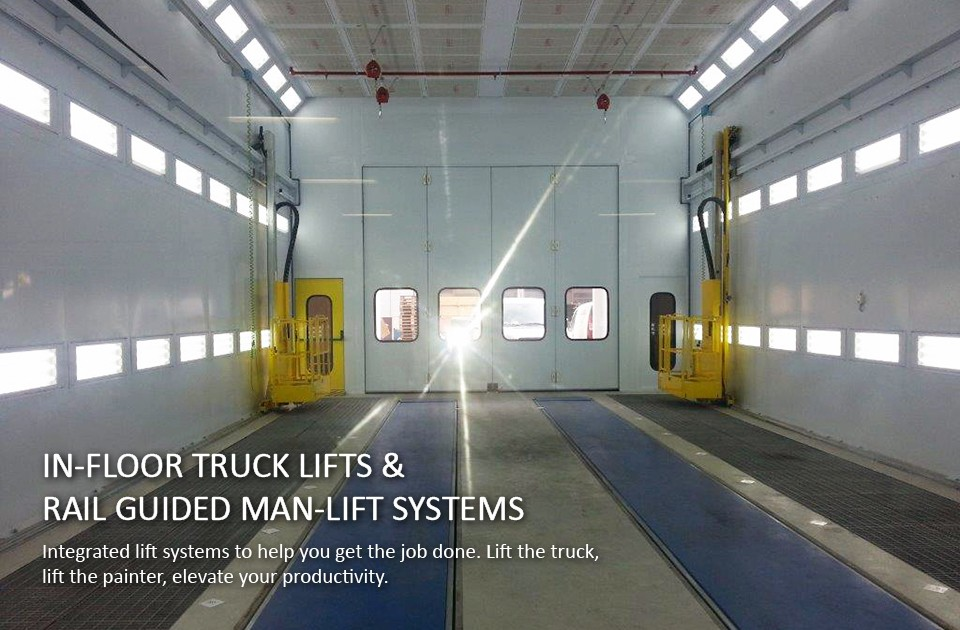 Accudraft-TX-Downdraft-Truck-Paint-Booth-with-3-Axis-lifts