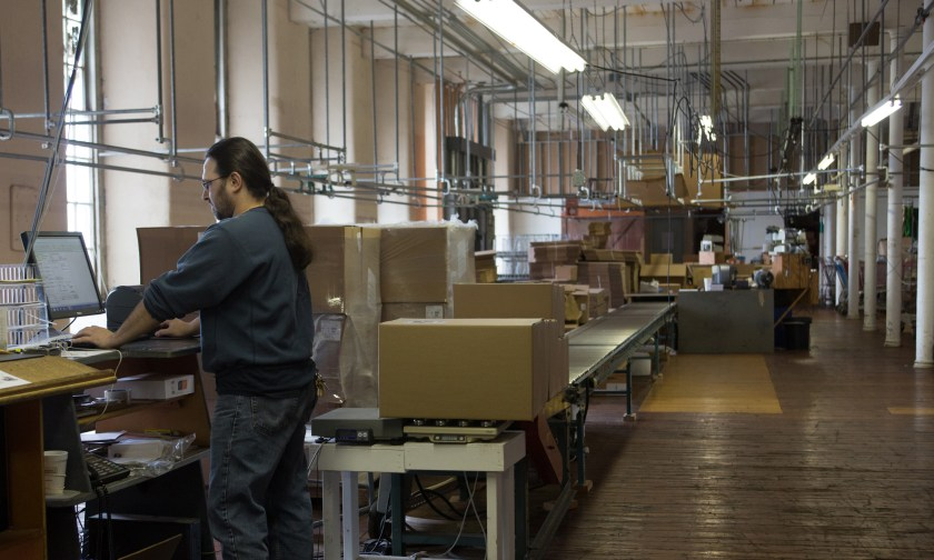 Our third floor order fulfillment and shipping station.