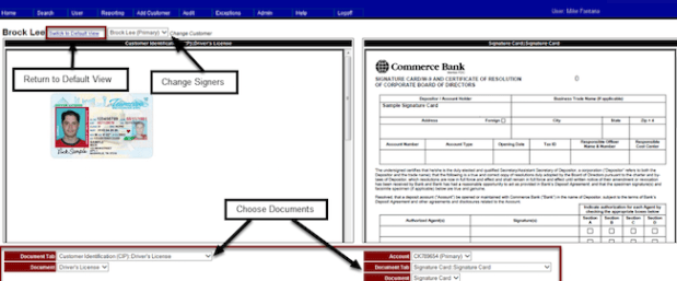 AccuAccount Deposit Signature Card View