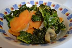 Quinoa with mushrooms kale and sweet potato