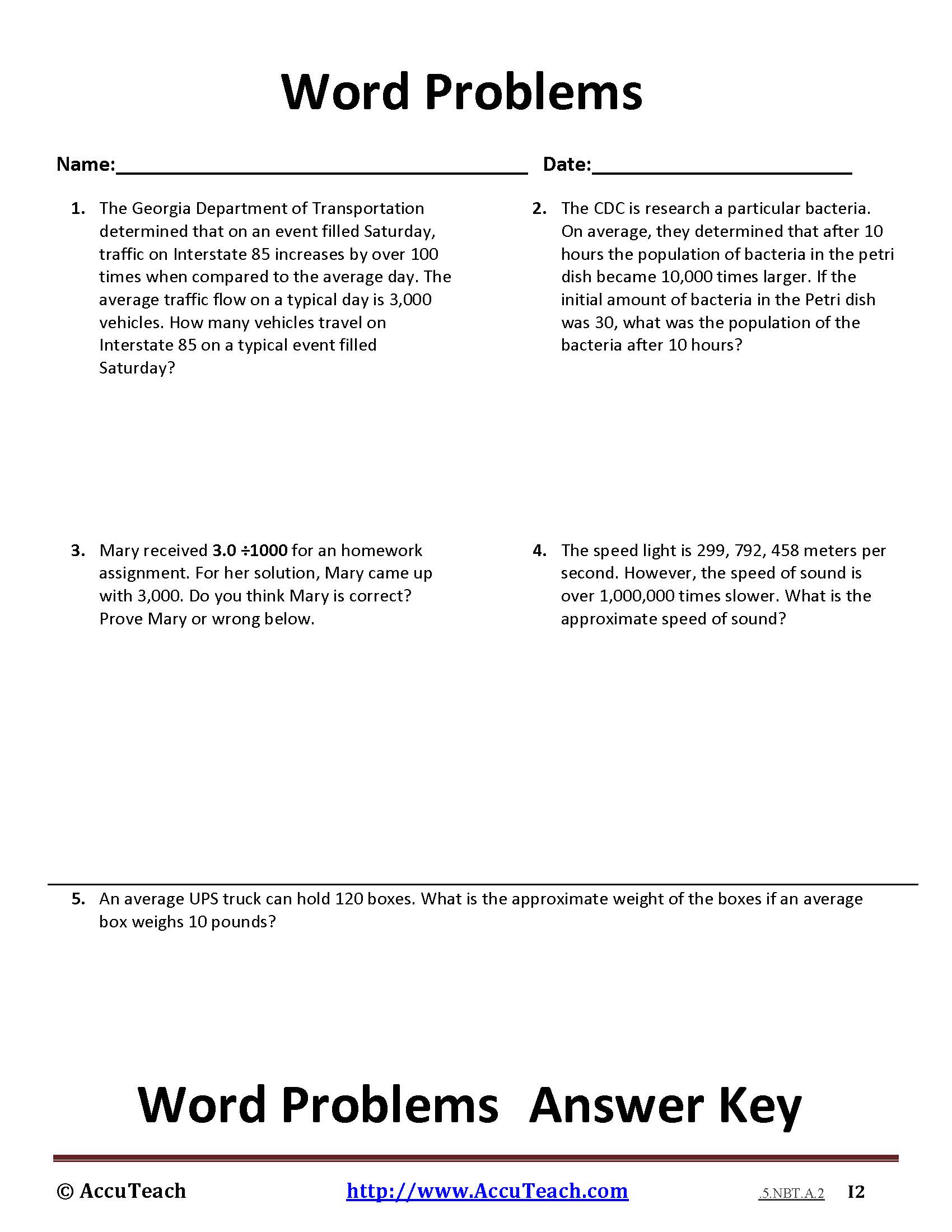 5 Nbt A 2 Common Core Story Problems Activity Sheet 7
