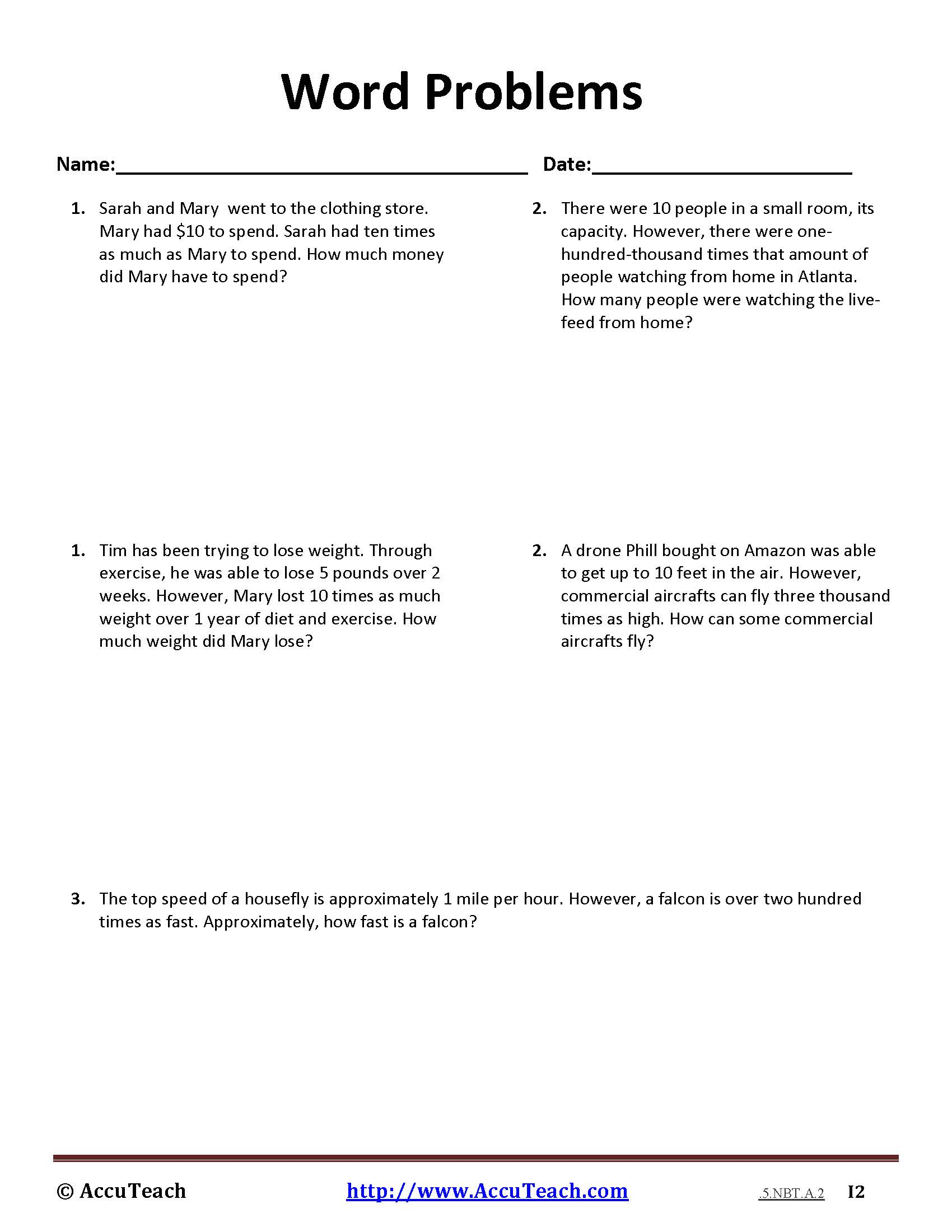 5 Nbt A 2 Common Core Story Problems Activity Sheet 8 Accuteach