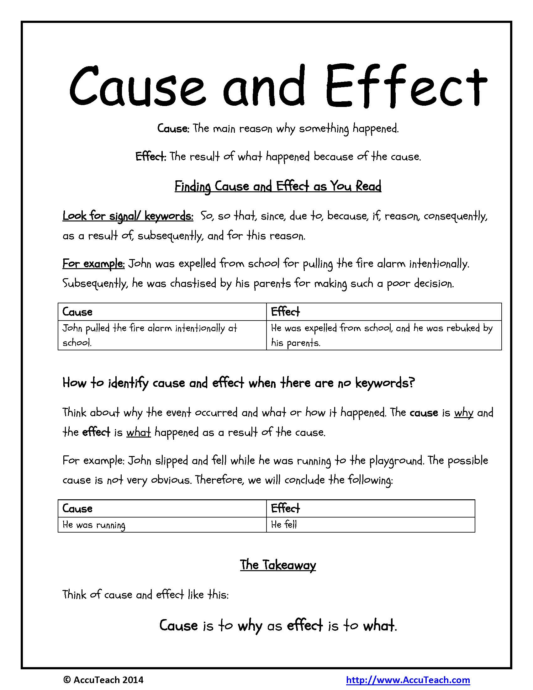 Reading Comprehension Strategy One Pager Cause And Effect