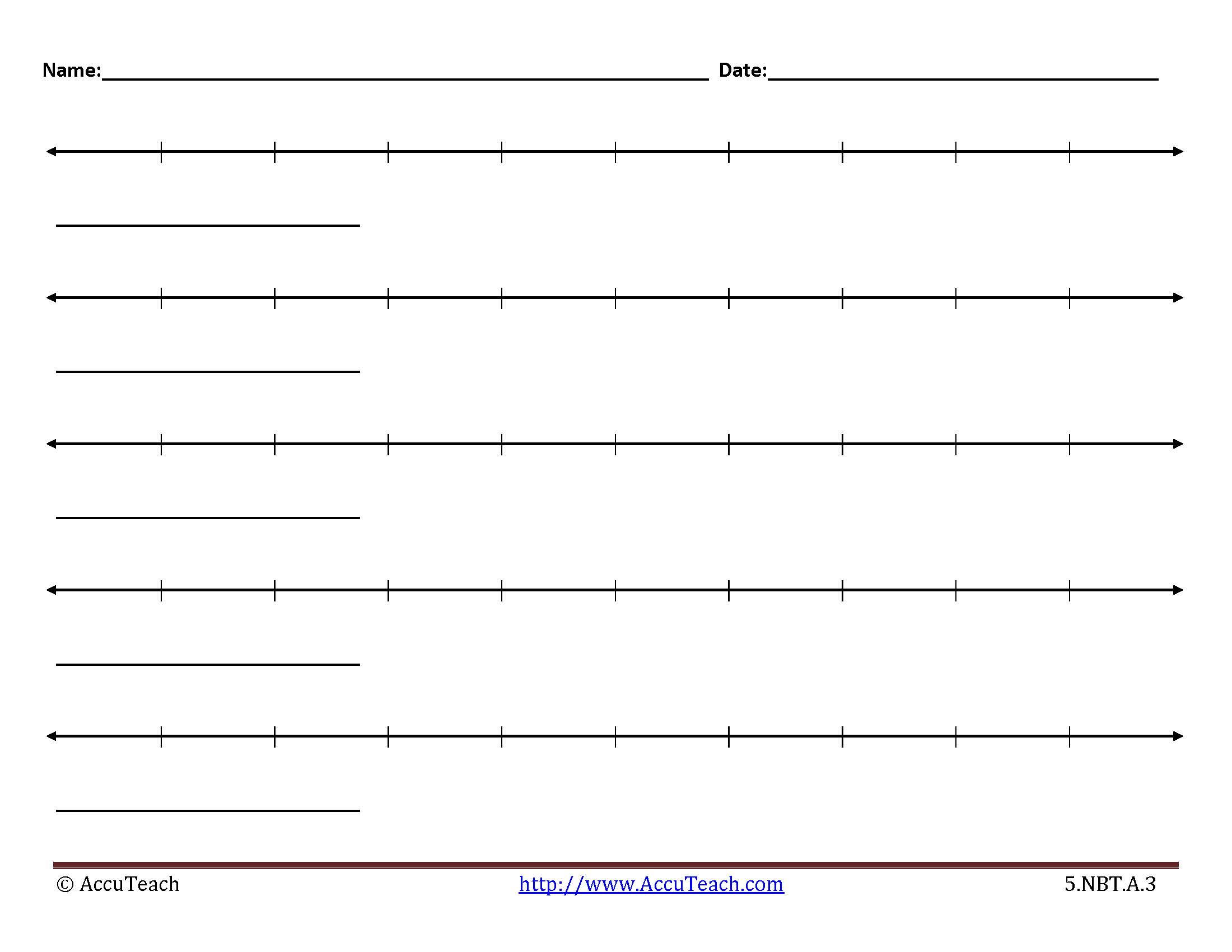 This is an image of Number Lines Printable with regard to subtraction