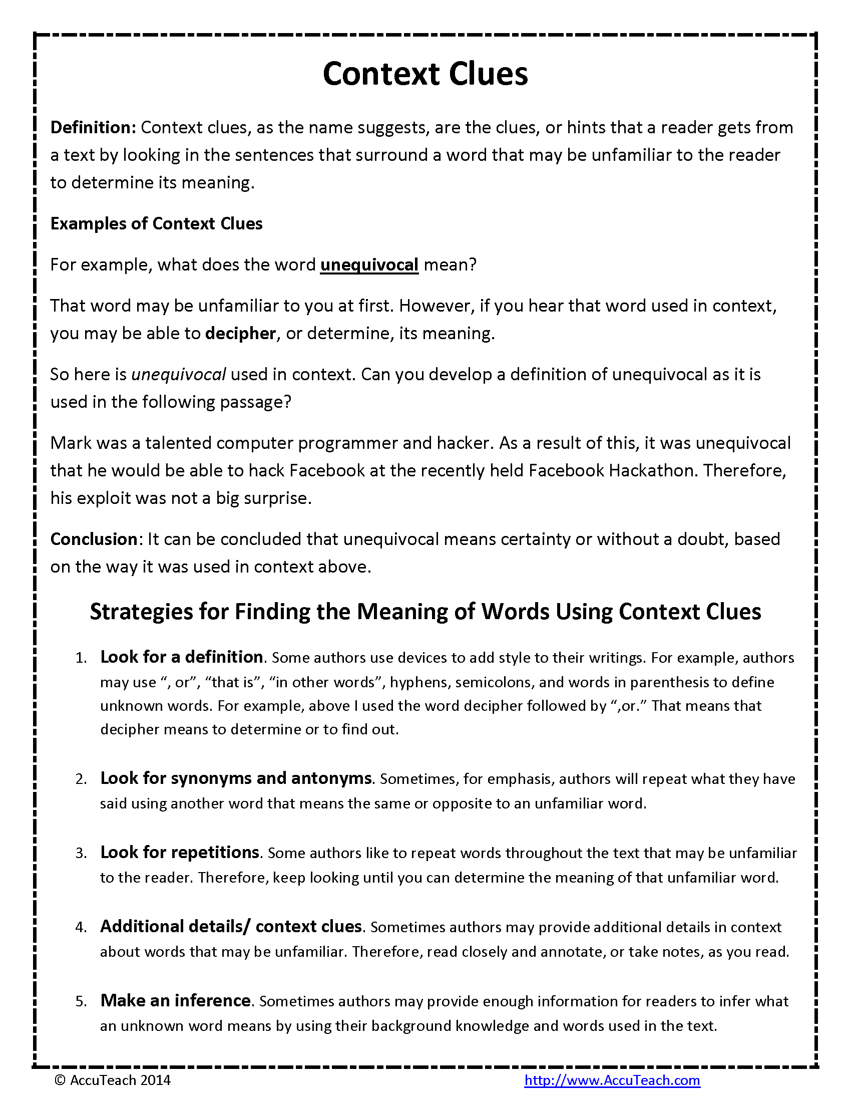Using Context Clues With Literature Worksheet