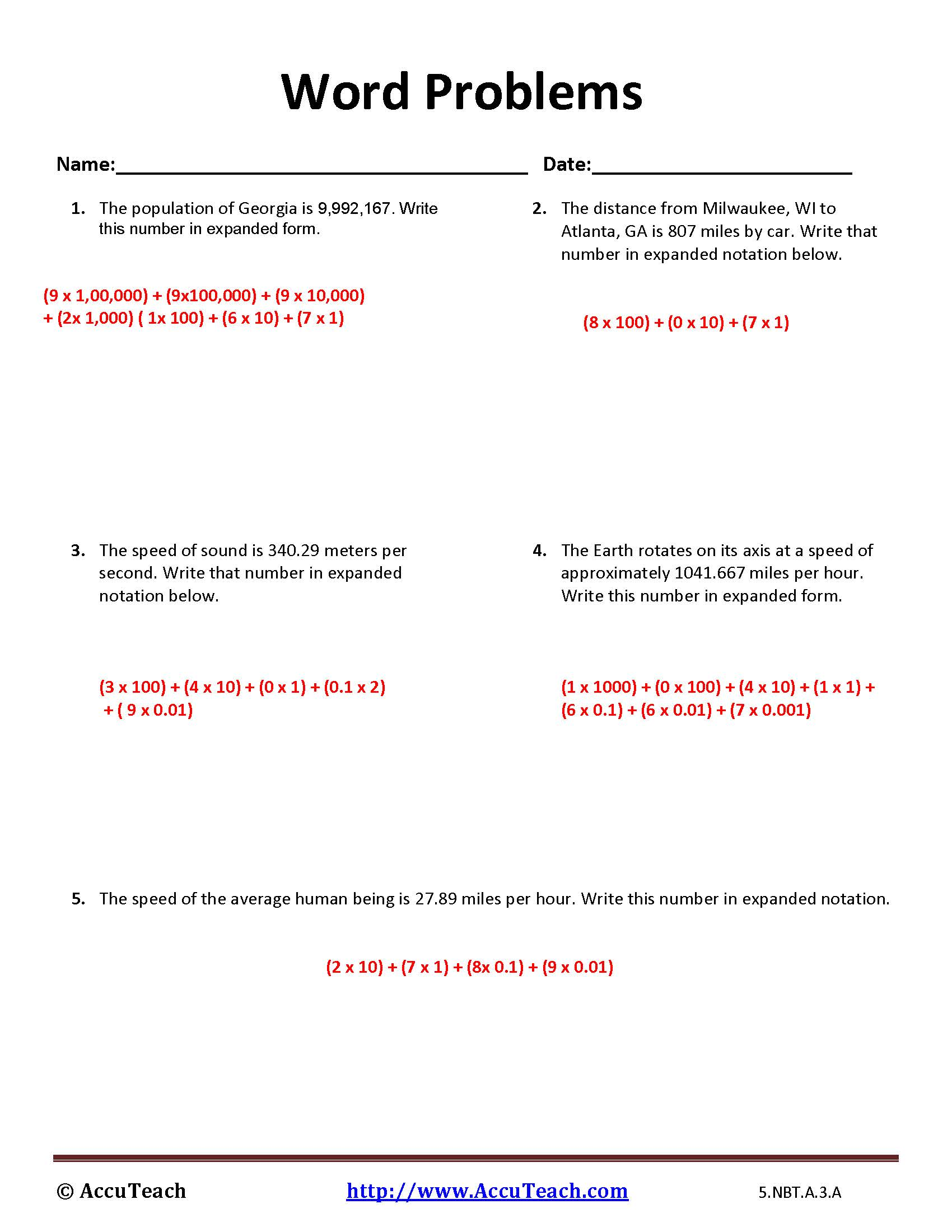 5 Nbt A 3 A Expanded Form Worksheet Activity 16