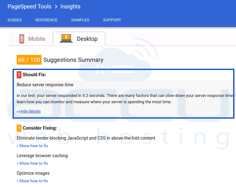 Google Page Speed Insight Feedback to Reduce Server Response Time