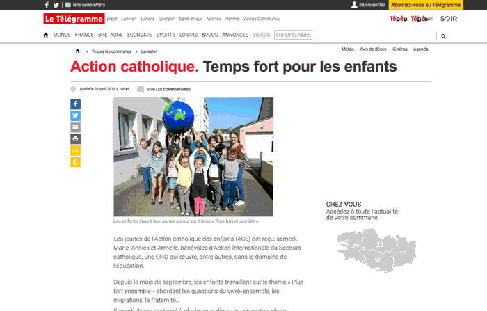 Article Le Télégramme 03 2019 - Action internationale du Secours catholique