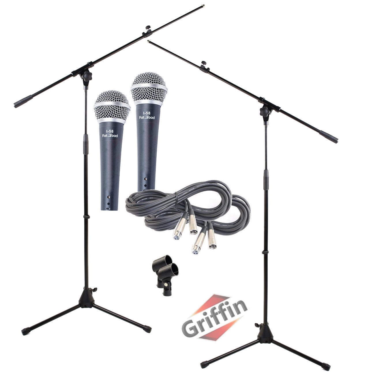 Microphone Boom Arm Stand 2 Pack Holder Xlr Cable Cardioid