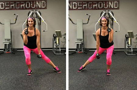 Biceps curl with side taps