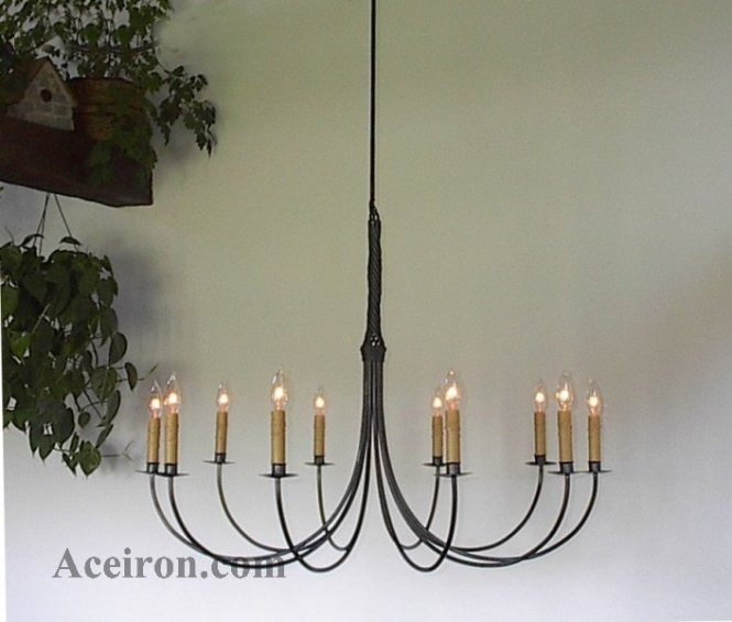 Ace Wrought Iron Custom Large Chandelier 10 Arm Twisted 36 Inch Dia By Clayton J Bryant