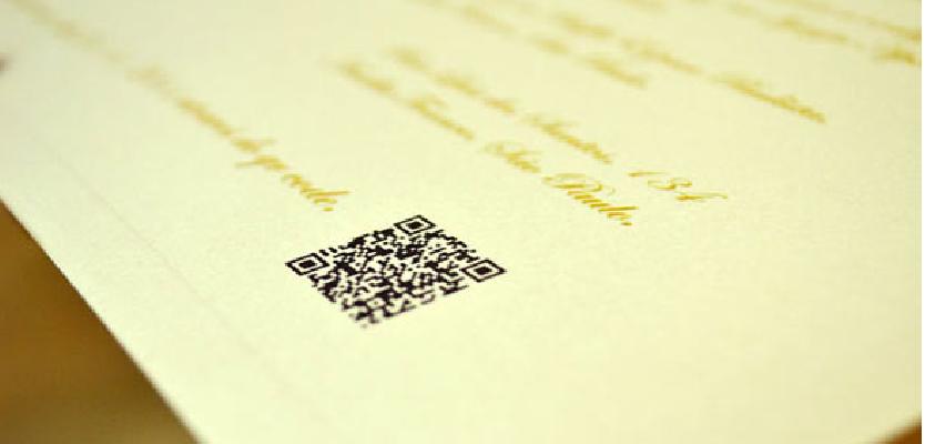 QR Code para RSVP convite-de-casamento-com-qr-code-papel-e-estilo