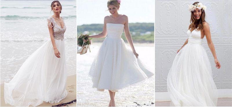 Vestido de noiva para casamento na praia pé na areia